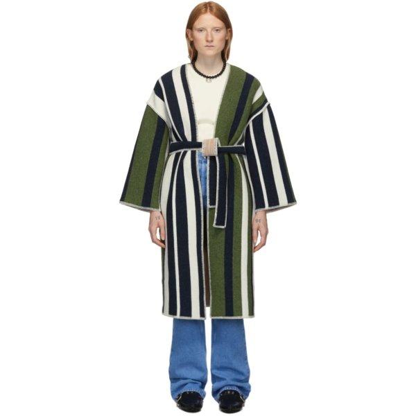 条纹裹身羊毛大衣