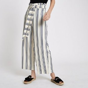 River IslandBlue stripe paperbag belted culottes - Pants - Sale - women