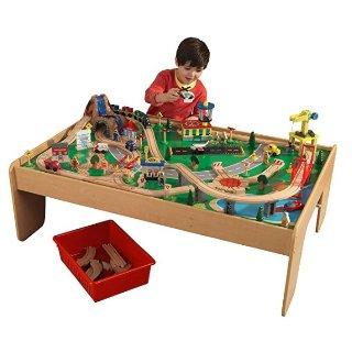 $76.99 (原价$229.99)  完美替代托马斯火车桌 性价比超高手慢无:KidKraft Wooden 经典木质瀑布、大山火车桌 附带3个收纳盒和120零件 火车套装