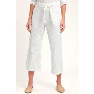 Malta White Wide-Leg Cropped Pants