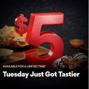 just $5AMC DINE-IN™ theatre offers Chips & Queso or a Brownie Sundae