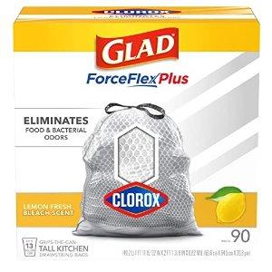 买3件仅$33.45Glad 13加仑垃圾袋 柠檬香款 90个