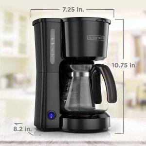 $18.98(原价$43.16)史低价:BLACK+DECKER 小号咖啡机 5杯容量 一键式操作