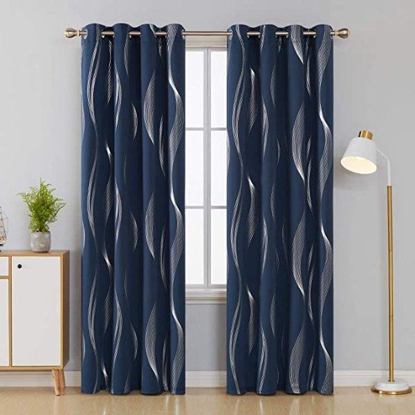 52 x 84 Inch 深蓝色遮光窗帘 2片