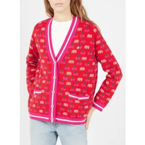 Maje红色樱桃针织外套