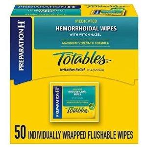 PREPARATION H (50 Count Dispenser) Flushable Medicated Hemorrhoid Wipes