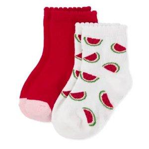 GymboreeGirls Watermelon Print And Solid Midi Socks 2-Pack - Sweet Watermelon