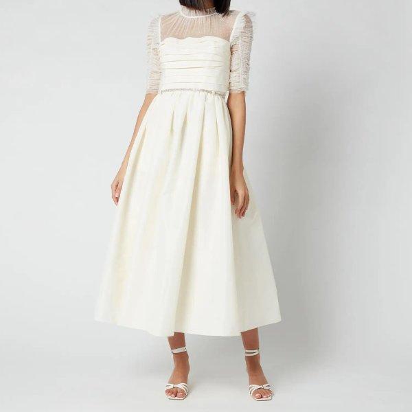褶皱蕾丝长款连衣裙