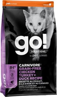 Go! Solutions Carnivore Grain-Free Chicken, Turkey + Duck Recipe Dry Cat Food, 3-lb bag - Chewy.com