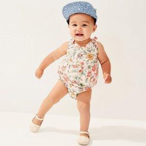 低至4折+额外5.4折 爬服$4.31限今天:Gap 婴儿服饰 米其林宝宝爬服 衬衫 连体裙清仓