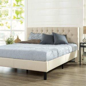 低至7折 封面布艺床架$178限今天:Zinus 精选床架、床垫一日特卖