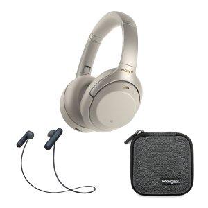 SonyWH-1000XM3 降噪耳机 银色 + WI-SP500 无线运动耳机 黑色