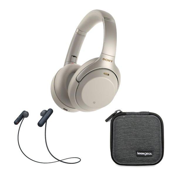 WH-1000XM3 降噪耳机 银色 + WI-SP500 无线运动耳机 黑色