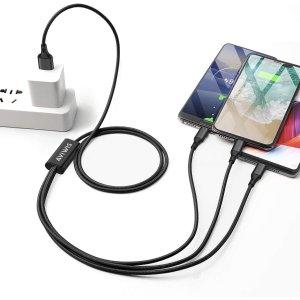 5.1折起 低至平价€1.36/条USB数据线闪促 3合1出门使用超方便 安卓、苹果等均适用