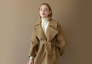 3 Way Banding Pointed Trench Coat Beige  | W Concept