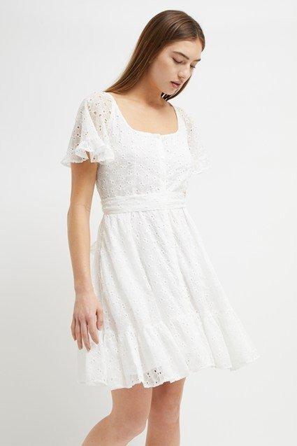 方领蕾丝连衣裙