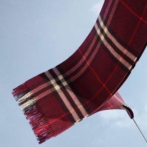 $299(国内¥4000)收完美秋冬礼物独家:Burberry 经典英伦风羊绒围巾特卖 18种颜色任选