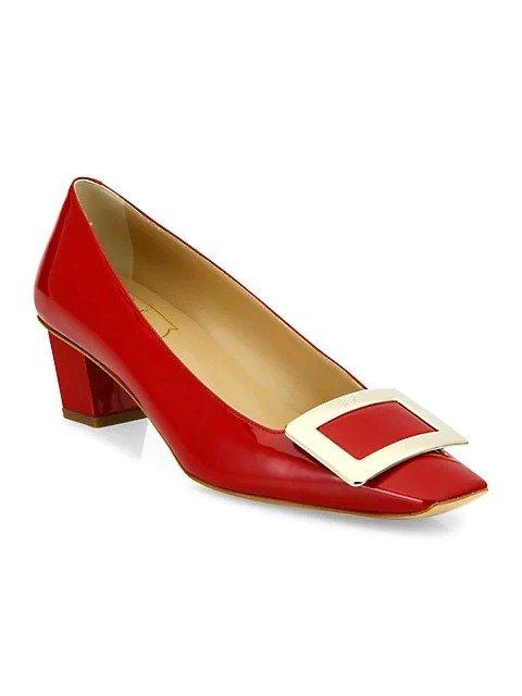 Belle 方扣低跟单鞋
