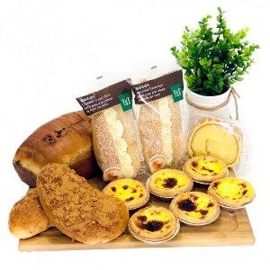 仅限东岸经典组合 肉松包+椰丝奶油包+提子方包+葡式蛋挞+虎皮蛋糕