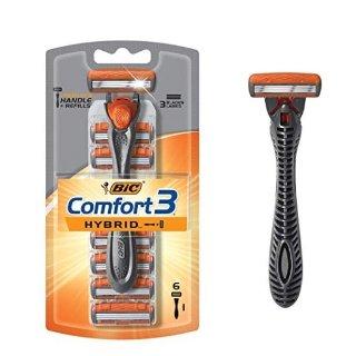 $1.79 包邮白菜价:BIC Comfort 三重刀片 剃须刀套装+6件替换刀头