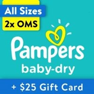 Pampers$25 礼卡Baby-Dry 婴儿纸尿裤两箱,以N+1号356片为例