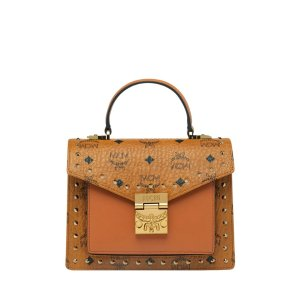 MCMPatricia Satchel in Studded Outline Visetos