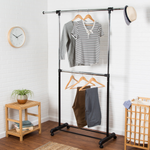 Expandable Dual Rod Garment Rack with Wheels