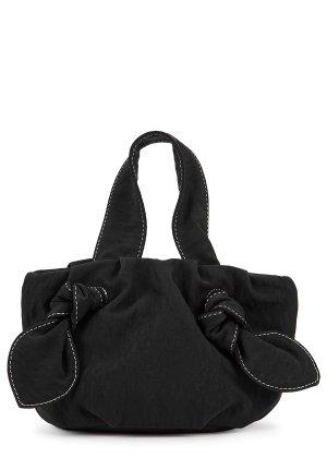 STAUD Ronnie black satin top handle bag - Harvey Nichols