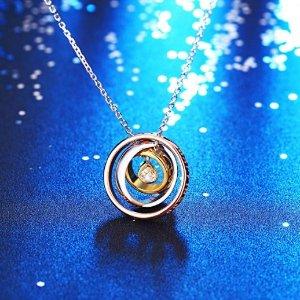 $18.99 (原价$38.99)J.Rosée 925纯银三色三环吊坠锆钻项链
