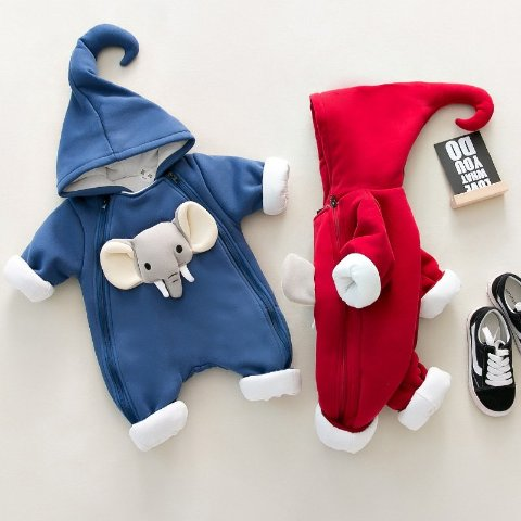 Baby Elephant Warm Hooded Jumpsuit