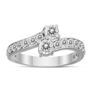 Dealmoon Exclusive: $3491 Carat Diamond Two Stone Engagement Ring 10K White Gold