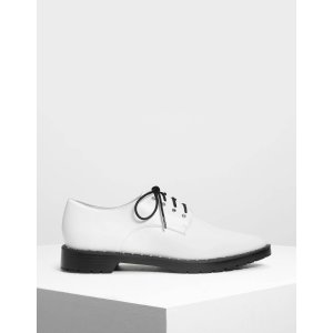 White Embellished Derby Shoes | CHARLES & KEITH