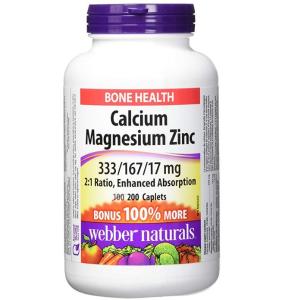 $8.05(原价$15.49)Webber Naturals 钙镁锌营养胶囊200颗