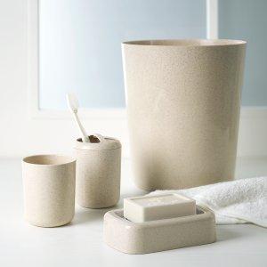 $5Mainstays Value 4pc Beige Plastic Bath Accessory Set