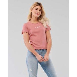 Hollister粉色小雏菊T恤