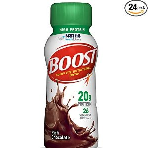 $15.46Boost High Protein Complete Nutritional Drink, Rich Chocolate, 8 fl oz Bottle, 24 Pack @ Amazon