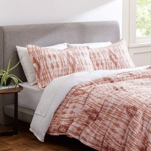 Rivet Modern Ikat Duvet Cover Bedding Set, 100% Cotton, Easy Care, King, Orange