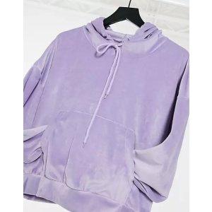 velour oversized hoodie in gray