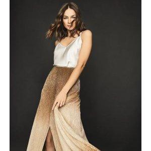 ReissEmmeline Gold Metallic Maxi Skirt – REISS