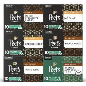 Peet's Coffee Variety Pack K-Cup Coffee Pods Variety Pack, 60 Pods