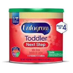 5.5折+额外9.5折+包邮 4罐仅$37Enfagrow 幼儿1-3岁 Next Step奶粉,香草味,24oz,4罐装