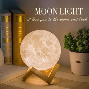 仅售€20.99创意月球灯 15cm直径 3种灯光颜色 USB充电 触摸控制
