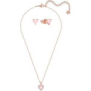 Swarovski$650享6.5折,$330享7.5折,满$190享8折粉色爱心项链耳钉套装