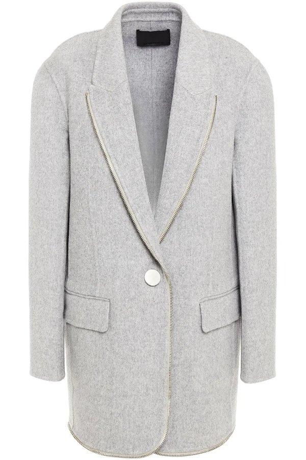 Zip-embellished 羊毛外套