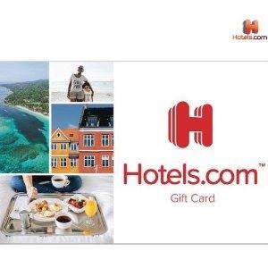 仅需$85 变相8.5折Hotels.com $100电子礼卡超值促销