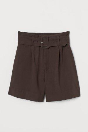 Paper-bag Shorts - Brown - Ladies   H&M US