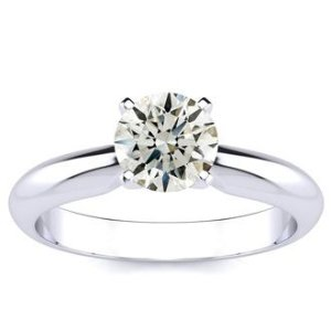 SuperJeweler1ct Round Diamond Solitaire in 14k White Gold, Amazing Fiery Diamond At An Excellent Price!