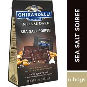 Intense Dark Chocolate Sea Salt Roasted Almond SQUARES Medium Bags (Case of 6)
