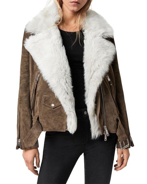 毛毛机车外套