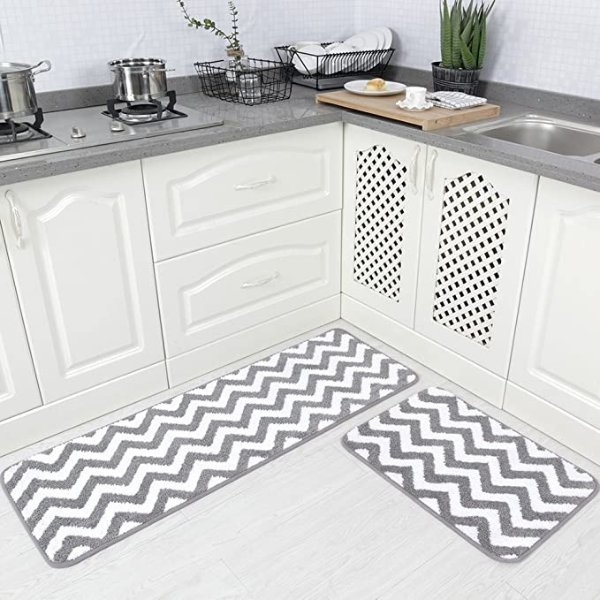 Carvapet 波浪纹厨房防滑地垫  2片装 灰色